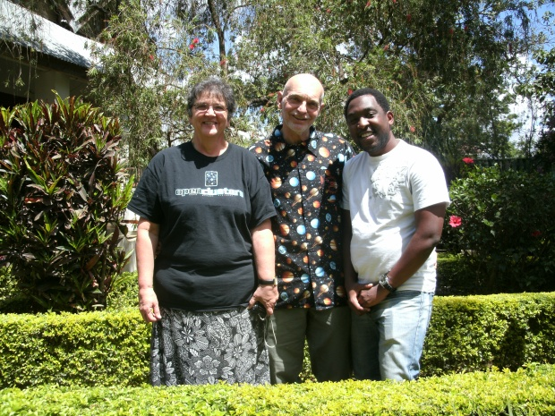 Sue, Chuck and Mponda (Telescopes to Tanzania Team)