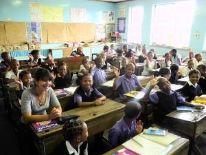 Maya with learners in Sutherland SA